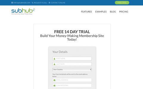 Screenshot of Trial Page subhub.com - SubHub - Making Membership Websites Manageable - captured Feb. 4, 2018
