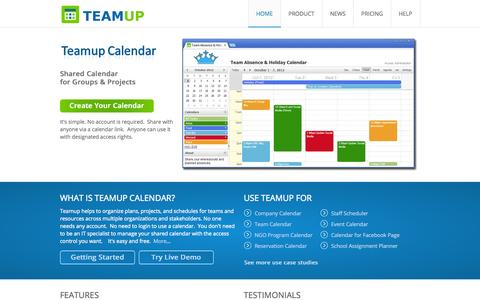 Screenshot of Home Page teamup.com - Teamup Calendar | Shared Calendar for Groups & Projects - captured Sept. 19, 2014