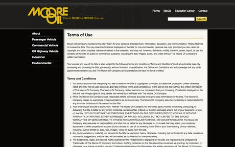 Screenshot of Terms Page mooreoil.com - Terms of Use | Moore Oil - captured Oct. 26, 2014