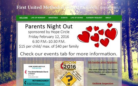 Screenshot of Home Page fumckilleen.com - First United Methodist Church Killeen - captured Feb. 10, 2016