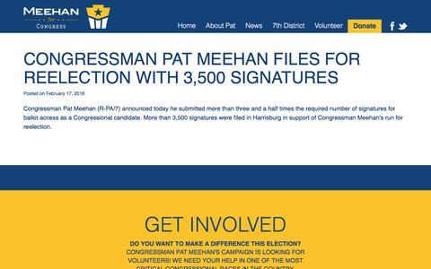 Screenshot of Press Page meehanforcongress.com - News - Pat Meehan for Congress   Meehan for Congress - captured Aug. 10, 2016