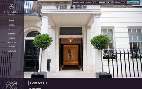 Screenshot of Contact Page thearchlondon.com - Cumberland Hotel - Contact The Arch Hotel London - captured Sept. 24, 2014