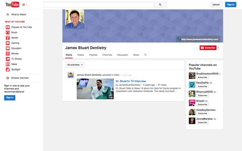 Screenshot of YouTube Page youtube.com - James Stuart Dentistry  - YouTube - captured Oct. 23, 2014