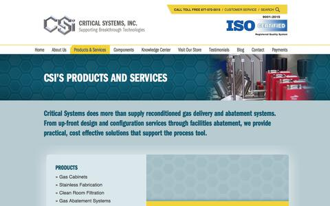 Screenshot of Products Page criticalsystemsinc.com - Products & Services | Critical Systems, Inc. - captured July 23, 2018