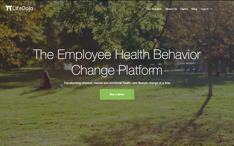 Screenshot of Home Page lifedojo.com - LifeDojo | The Employee Health Behavior Change Platform - captured July 4, 2019