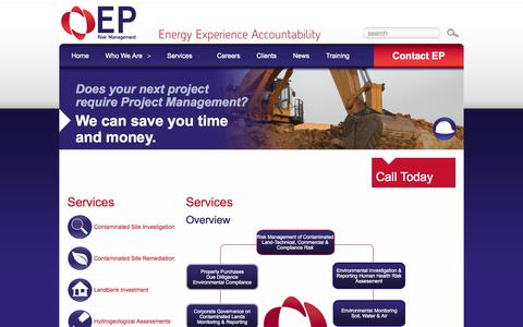 Screenshot of Services Page eprm.com.au - Project Management and Remediation of Contaminated Land | EP Risk Management - captured Oct. 1, 2014