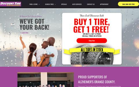 Screenshot of Home Page discounttirecenters.com - Discount Tire Centers: Tire Specials & Complete Car Care - captured Dec. 15, 2019