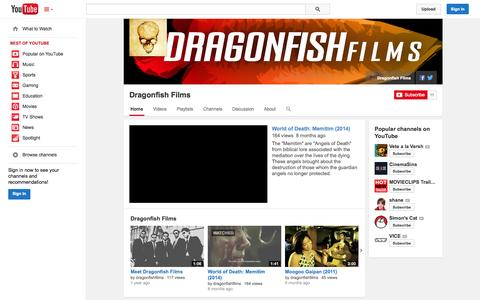 Screenshot of Press Page YouTube Page youtube.com - Dragonfish Films  - YouTube - captured Oct. 23, 2014