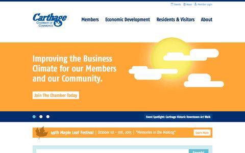 Screenshot of Home Page carthagechamber.com - Carthage Chamber of Commerce - captured Sept. 20, 2015