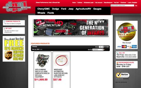 Screenshot of Home Page Contact Page Site Map Page Team Page dieselperformanceparts.com - Diesel Performance Headquarters - captured Oct. 5, 2014