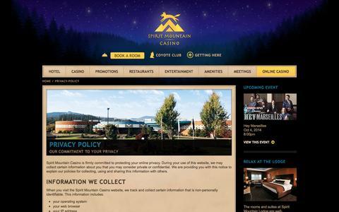 Screenshot of Privacy Page spiritmountain.com - Privacy Policy | Spirit Mountain Casino - captured Sept. 23, 2014
