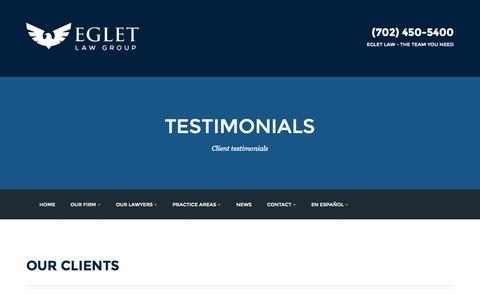 Screenshot of Testimonials Page egletlaw.com - TESTIMONIALS - egletlaw.com - captured Nov. 1, 2014