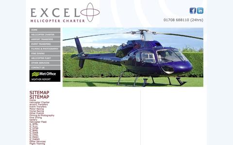 Screenshot of Site Map Page excelcharter.com - Excel provide helicopter charter flights and private helicopter hire - - captured Oct. 3, 2014