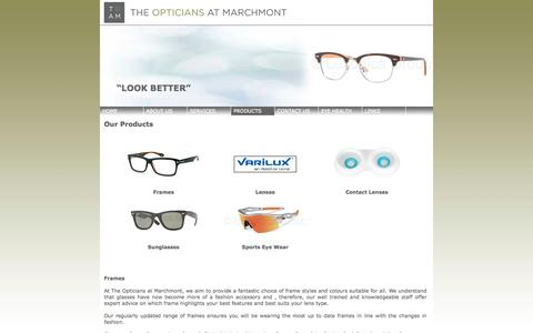 Screenshot of Products Page theopticiansatmarchmont.co.uk - The Opticians at Marchmont - Products we offer - captured Oct. 9, 2014