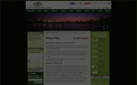 Screenshot of Privacy Page centralpark.com - Privacy Policy - captured Sept. 23, 2014