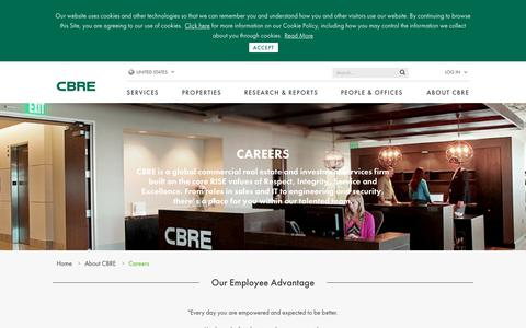 Screenshot of Jobs Page cbre.us - Our Employee Advantage | CBRE - captured Sept. 23, 2019