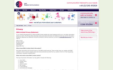 Screenshot of Privacy Page ewa.ltd.uk - Contact Centre Outsourcing, EWA Dedicated Contact Centre Solutions - captured Oct. 1, 2014