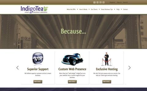 Screenshot of Home Page indigotea.com - IndigoTea Smart Business Solutions - captured Sept. 30, 2014