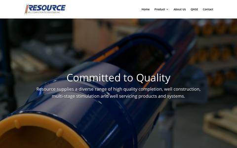 Screenshot of Home Page resourcewct.com - Home | Resource Well Completion Technologies - captured Nov. 15, 2018