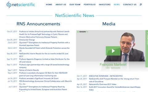 Screenshot of Press Page netscientific.net - News - NetScientific - captured Nov. 1, 2017