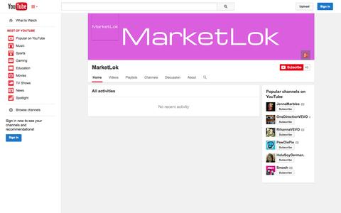 Screenshot of YouTube Page youtube.com - MarketLok  - YouTube - captured Oct. 27, 2014