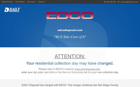 Screenshot of Home Page dailydisposal.com - Trash Collection San Diego | Waste Management and Removal - captured Oct. 7, 2018
