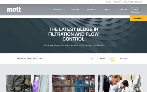 Screenshot of Blog mottcorp.com - Blog | Porous Metal Products | Filters, Spargers, and Flow Control - Mott - captured Nov. 16, 2017