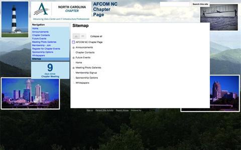 Screenshot of Site Map Page google.com - Sitemap - AFCOM NC Chapter Page - captured Nov. 19, 2016