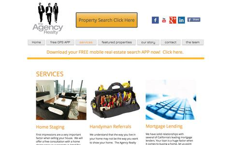 Screenshot of Services Page theagencyrealty.com - The Agency Realty | services - captured Sept. 21, 2018