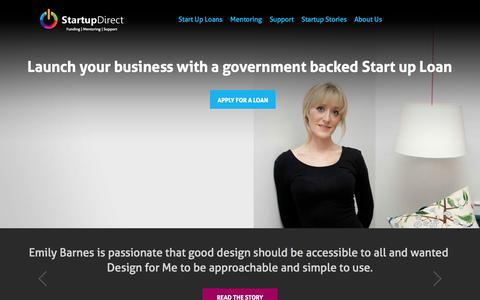 Screenshot of Home Page startupdirect.org - Startup Direct - Start Up New Business Loans - captured Sept. 30, 2014