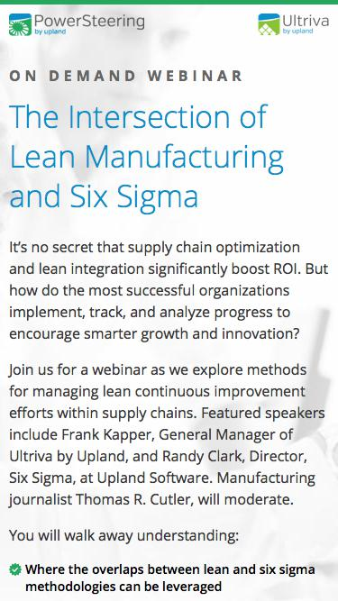 PowerSteering & Ultriva Webinar: The Intersection of Lean Manufacturing and Six Sigma