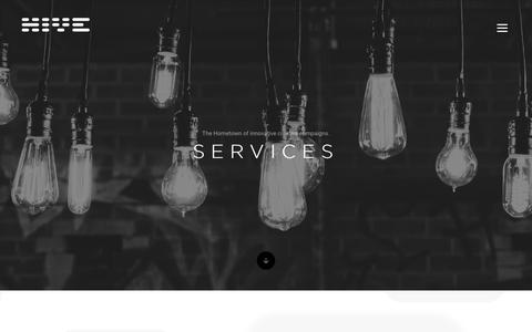 Screenshot of Services Page hive-ad.com - Hive Innovative Group - Services - Hive solutions for innovative campaigns. - captured Dec. 15, 2018