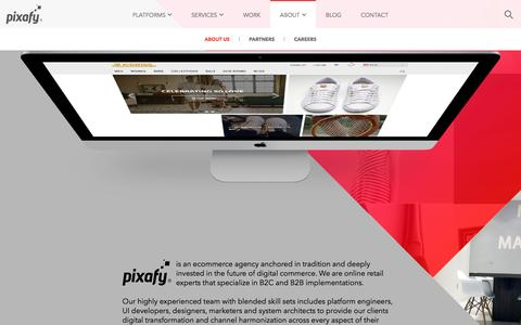 Screenshot of About Page pixafy.com - Full Service Ecommerce Agency - B2C and B2B Development : Pixafy - captured Oct. 14, 2016