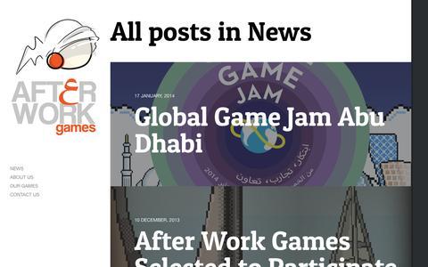 Screenshot of Press Page afterworkgames.ae - News | After Work Games - captured Sept. 30, 2014