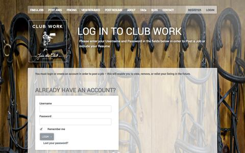 Screenshot of Pricing Page clubwork.com - Log In to Club Work - Club Work - captured Sept. 30, 2014