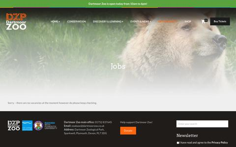 Screenshot of Jobs Page dartmoorzoo.org.uk - Jobs - Dartmoor Zoo - captured Sept. 22, 2018