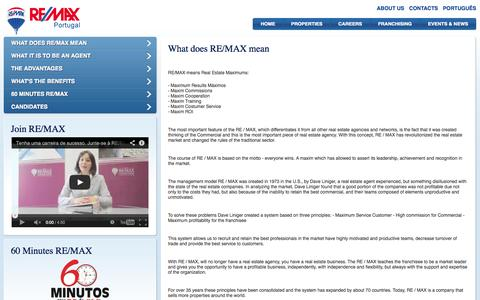 Screenshot of Jobs Page remax.pt - RE/MAX Portugal - Carreiras: O que significa RE/MAX - captured Oct. 26, 2014