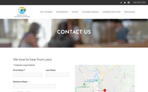 Screenshot of Contact Page comoxvalleychamber.com - Contact Us - Comox Valley Chamber of Commerce | Courtenay, BC - captured Nov. 22, 2018