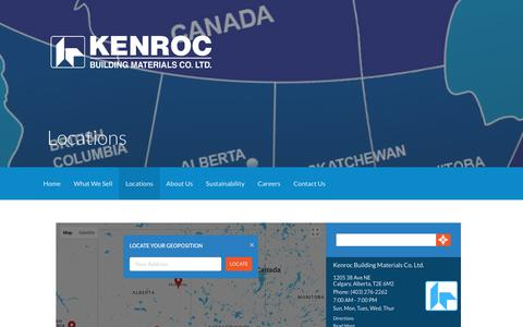Screenshot of Locations Page kenroc.com - Locations – KENROC Building Materials - captured Oct. 17, 2017