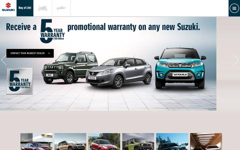 Screenshot of Home Page suzukiauto.co.za - Suzuki Range | New Suzuki | Used Suzuki | Suzuki Cars - captured Oct. 18, 2018