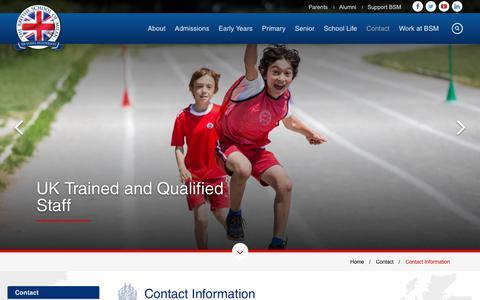 Screenshot of Contact Page britishschoolmilan.com - Contact Information - The British School of Milan - captured Nov. 1, 2018