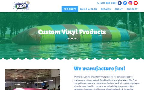 Screenshot of Products Page thewaterblob.com - Custom Products - The Original Water Blob - The Original Water Blob - captured July 7, 2018
