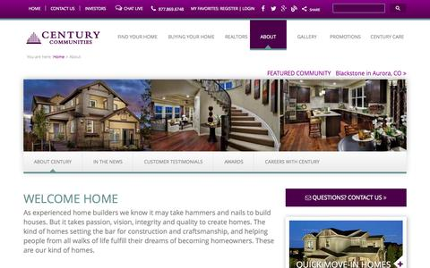 Screenshot of About Page centurycommunities.com - Home Builders in Colorado - Custom Builders - captured Oct. 2, 2014