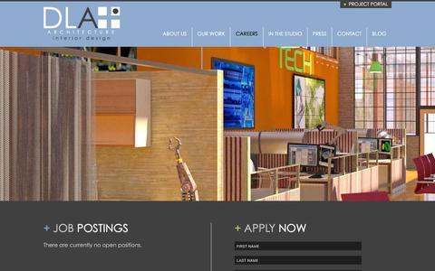 Screenshot of Jobs Page dlaplus.com - Careers | DLA+ Architecture & Interior Design - captured Feb. 24, 2016