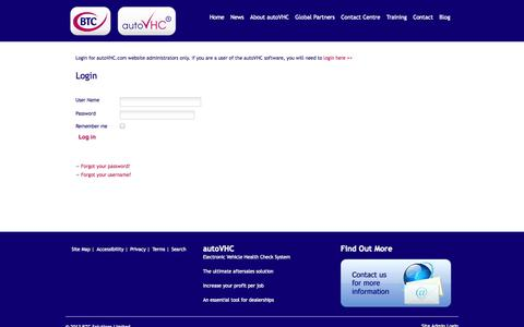 Screenshot of Login Page autovhc.com - Site Admin Login - autoVHC and Business Training and Consultancy Limited (BTC) - autoVHC - captured Oct. 4, 2014