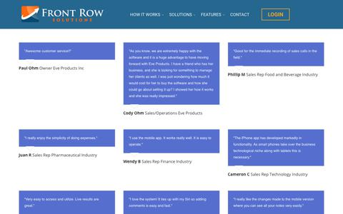 Screenshot of Testimonials Page frontrowsolutions.com - Testimonials - Front Row Solutions | Mobile Forms Paperless Solutions - captured Oct. 14, 2017