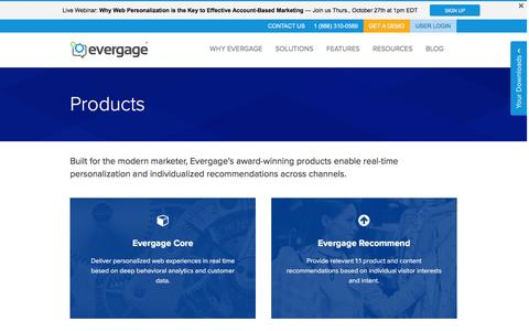 Screenshot of Products Page evergage.com - Evergage | Products for Real-Time Personalization - captured Oct. 15, 2016