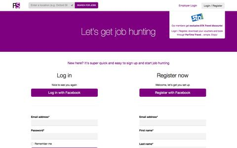 Screenshot of Login Page partimestudent.com - ParTime Student - Search for jobs near you and apply now - captured Dec. 7, 2015