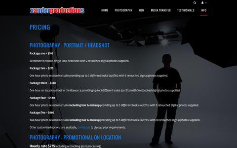 Screenshot of Pricing Page xanderproductions.com.au - pricing Xander Productions | film production and photography | servicing Illawarra, Sydney and beyond. - captured Aug. 16, 2016