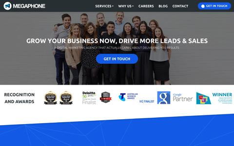 Screenshot of Home Page megaphonemarketing.com.au - Megaphone Marketing - Grow Your Business, Drive More Leads & Sales With Our Award Winning Digital Marketing - captured Dec. 10, 2018